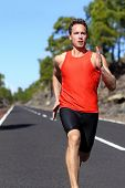 picture of sprinter  - Running man sprinting fast at speed - JPG