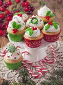 picture of ice-cake  - Christmas cup cakes and candy canes - JPG