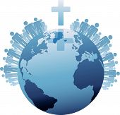 image of northern hemisphere  - All people of the world or the  Global Christian Population of Earth under a Cross - JPG