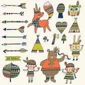 picture of wigwams  - Beautiful indian set in vector - JPG