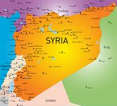 stock photo of euphrat  - Vector color map of Syria  - JPG