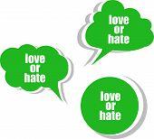 image of hate  - love or hate word on modern banner design template - JPG