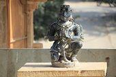 picture of garuda  - Statue of Garuda sitting with folded hands at Kumbha Shyam Chittorgarh Fort Rajasthan India Asia - JPG