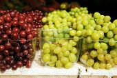 picture of cornucopia  - fresh raw lot of red and green grapes on counter - JPG