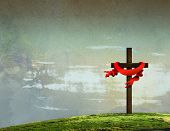 stock photo of golgotha  - On Calvary Jesus paid the price - JPG