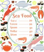 stock photo of cuttlefish  - Colorful vector seafood menu poster with a central frame with text and a shrimp surrounded by fish  cuttlefish  calamari  lobster  crab  sushi  shrimp  prawn  mussel  salmon steak and herbs - JPG