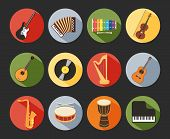 picture of bongo  - Colored Flat Musical Icons Isolated on Black Background - JPG