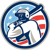 stock photo of hitter  - Illustration of a american baseball player batter hitter holding bat set inside circle with stars and stripes in the background done in retro style - JPG