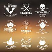 stock photo of witches cauldron  - Vintage Typography Halloween Vector Badges or Logos Pumpkin Ghost Scull Bones Bat Spider Web and Witch Hat With Abstract Blured Background - JPG