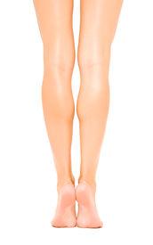 stock photo of slender  - Slender beautiful female legs rear view isolated on white background - JPG