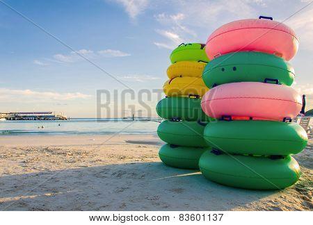 Ring Buoy In Summer Beach On Sunrise