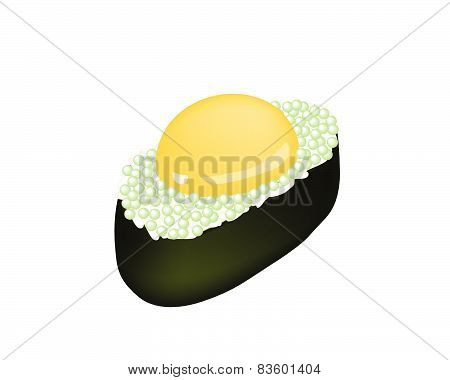 Green Tobiko Sushi With Uzura Or Raw Quail Egg