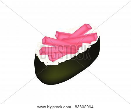 Tuna Sushi Or Tuna Nigiri On White Background