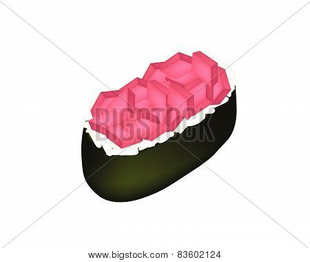 Tuna Sushi Or Tuna Nigiri Isolated On White