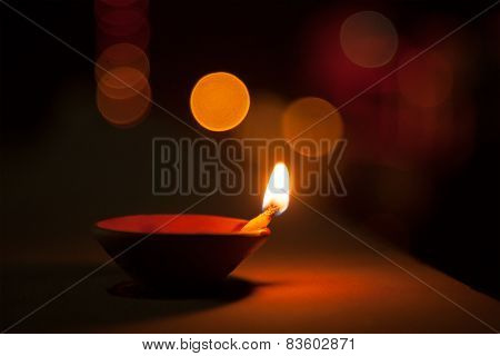 Oil lamp and blurred background