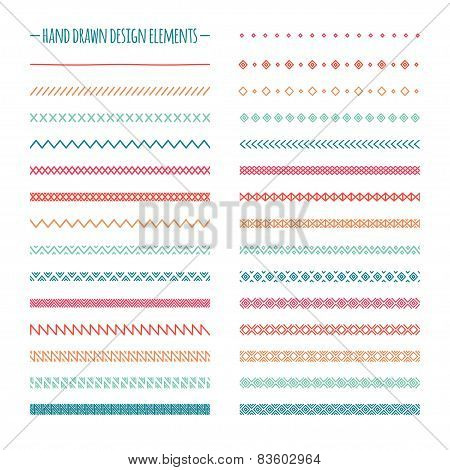 Hand drawn vector line border set and scribble design element. Geometric color vintage fashion patte