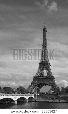 View From The Embankment On The Eiffel Tower, Black-and-white