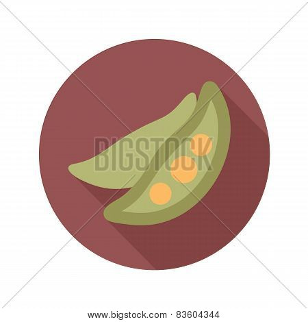 Pea Flat Icon With Long Shadow