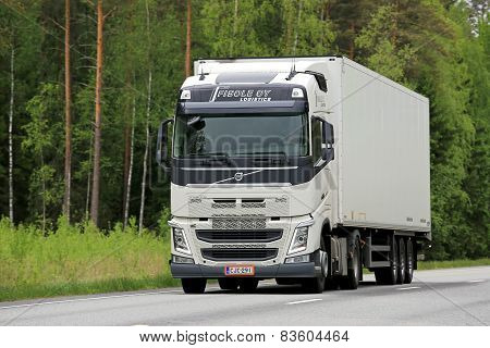 White Volvo FH Truck On The Road