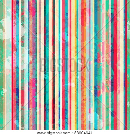 Colored Lines Seamless Pattern With Blots Effect