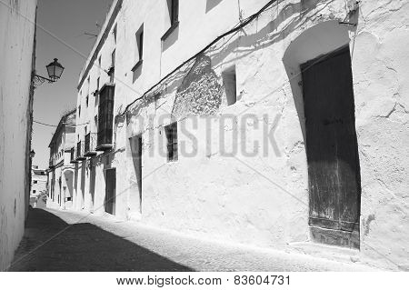 Andalusian Traditional Street With White Walls. Spain