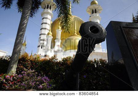 Old Cannon at Ubudiah Mosque at Kuala Kangsar, Perak
