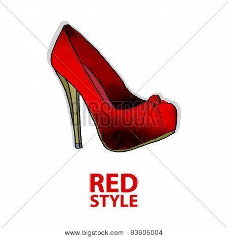 scarlet shoe