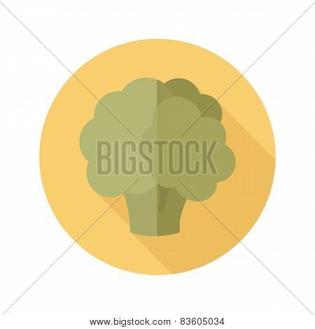 Cauliflower Flat Icon With Long Shadow