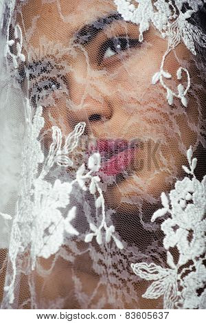 portrait of beauty young afro woman through white lace, like new