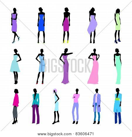 Set Of Colored High Fashion Women