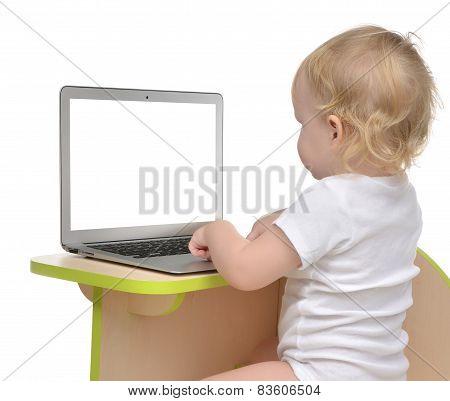 Child Baby Girl Toddler Typing On Modern Computer Laptop Keyboard