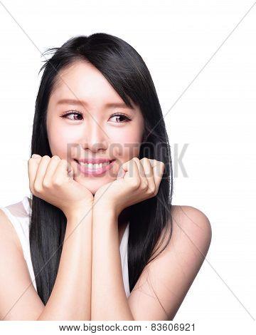 Beautiful Happy Woman Look Copyspace