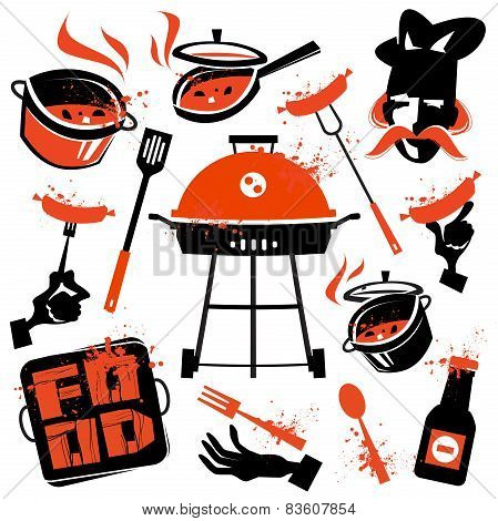 BBQ facilities. Food and kitchen utensils on a white background