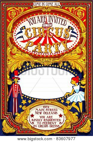 Poster Invite For Circus Party Carnival