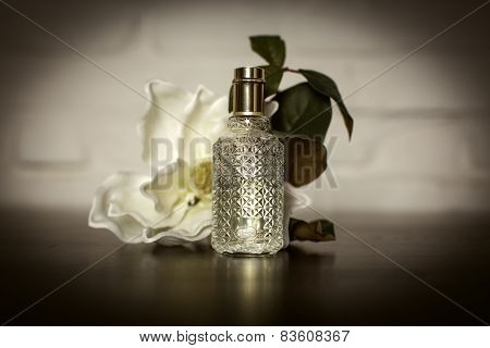 Women's Perfume In Beautiful Bottle With Roses