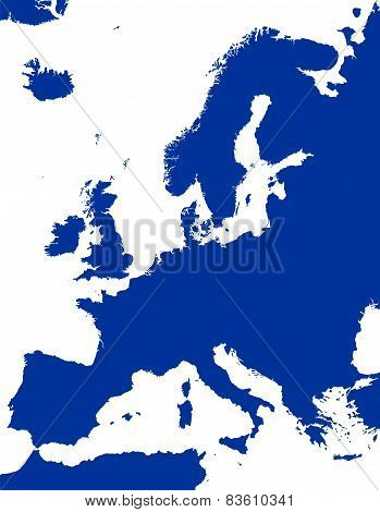 Europe Political Map Silhouette