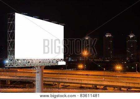 Blank Billboard At Night For Advertisement