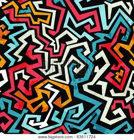 Graffiti Curves Seamless Pattern With Grunge Effect
