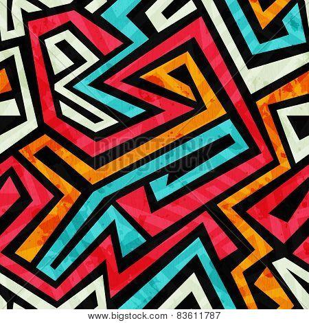 Graffiti Tribal Seamless Texture With Grunge Effect
