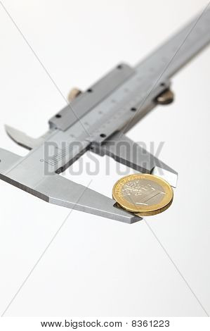 Euro Money Coin Sized By Vernier Tool
