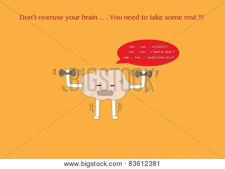 Brain Cartoon Tired