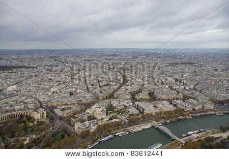 Paris, View Of The City In Cloudy Day