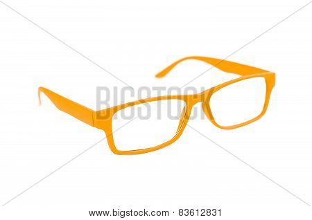Orange Eye Glasses Isolated On White Shallow Depth Of Field And Soft Focus