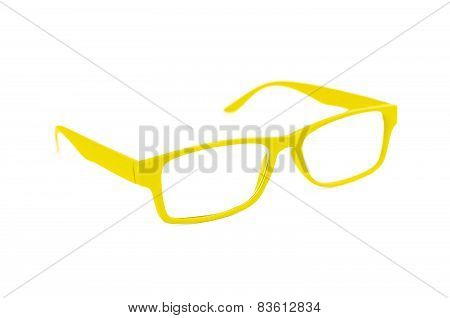Yellow Eye Glasses Isolated On White Shallow Depth Of Field And Soft Focus