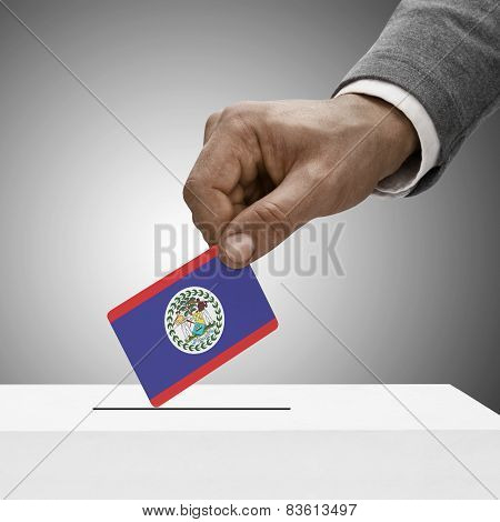 Black Male Holding Flag. Voting Concept - Belize