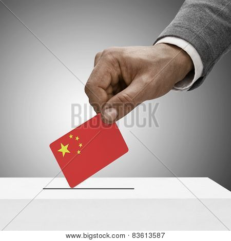 Black Male Holding Flag. Voting Concept - People's Republic Of China