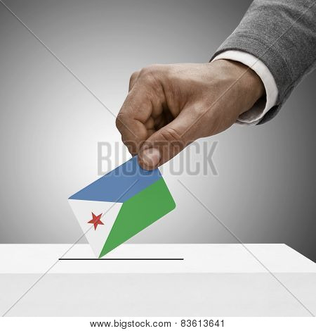 Black Male Holding Flag. Voting Concept - Djibouti