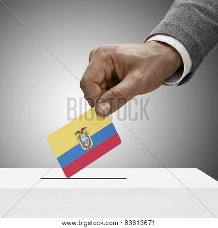 Black Male Holding Flag. Voting Concept - Ecuador
