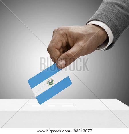Black Male Holding Flag. Voting Concept - Republic Of El Salvador