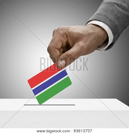 Black Male Holding Flag. Voting Concept - Gambia